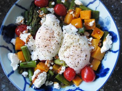 Roasted Vegetable Bowls (with Poached Eggs and Goat Cheese)
