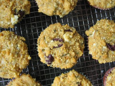 Corn, Millet (and Olive and Feta) Muffins