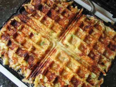 Ham and Gruyère Hash Brown Waffles